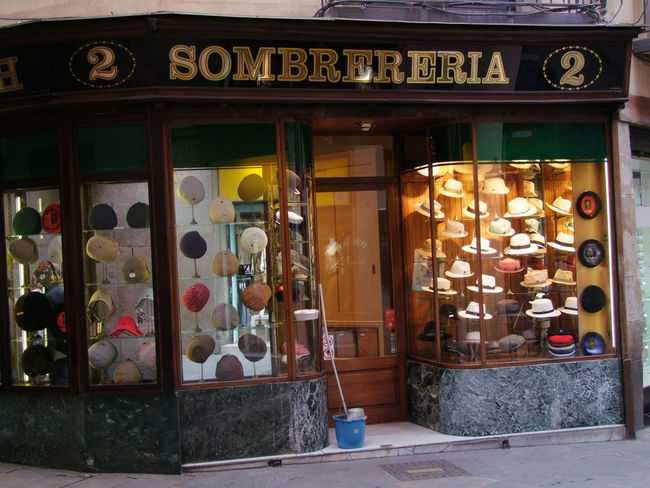 Old Fashion Hat Shop - Sombrereria Barcelona Clothing Composition Culture Display Full Frame Hats Hatter Illuminated No People Old Fashioned Outdoor Photography Retail  Shop Shopping Side By Side Sombrereria Spaın Store Storefront Storefront Display Storefront View Traditional