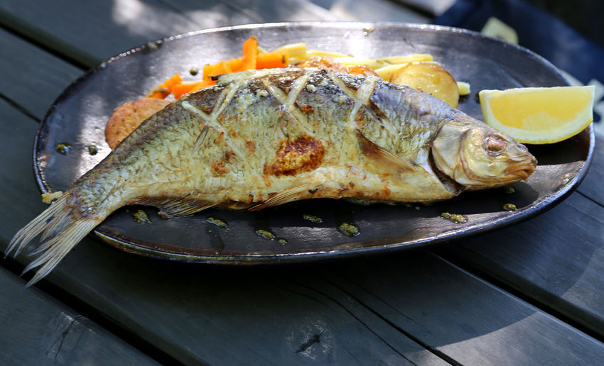Close-up Day Fish Fish Dish Food Food And Drink Freshness Healthy Eating Indoors  No People Plate Ready-to-eat Seafood Serving Size Whole Fish