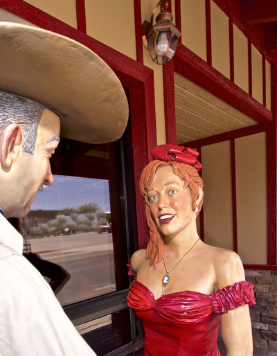 The Good Old Days Cowboys Mannequins The Wild Westt Beautiful Woman Cowgirls Day Leisure Activity Lifestyles One Person Real People Red Young Adult Young Women