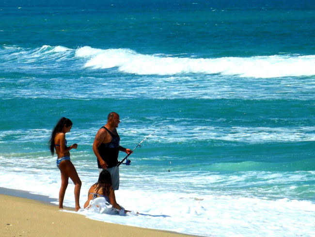 At The Shore Blue Children In The Water Family Time Father And Daughters Ocean People Watching Sea And Sand s People Of The Oceansurf fishing