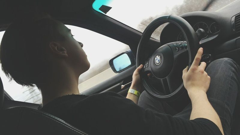Love my BMW Car Interior Driving Car Vehicle Interior One Person Travel Journey Men Steering Wheel BMW E46 People Tuning M Mpower