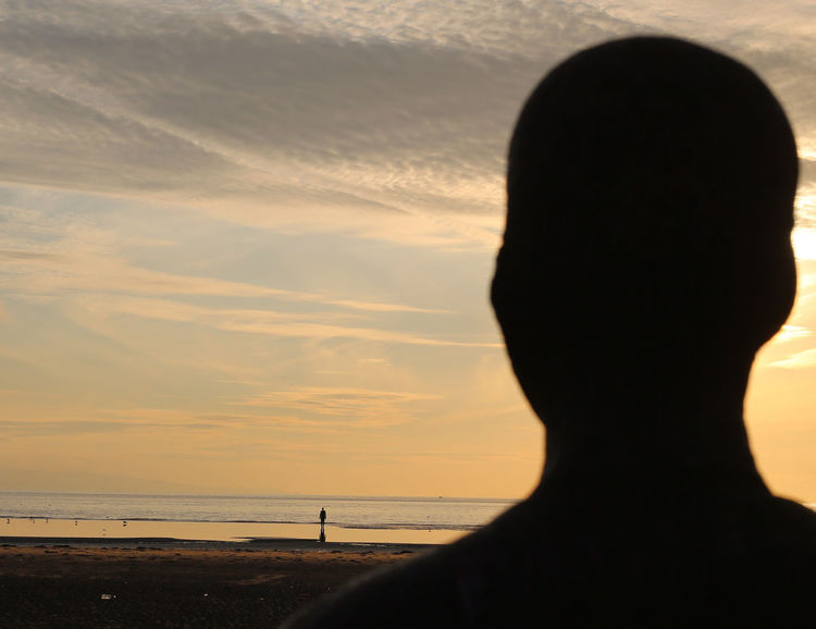 Art by Anthony Gormley (Liverpool, UK; 2013). Another Place Another Place By Anthony Gormley Art Beach Colonialism Crosby Beach Liverpool No People Sculpture Sea Sky Sunset