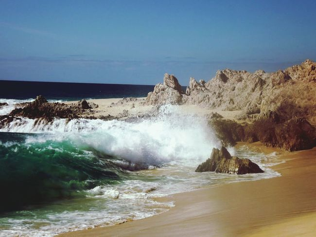 Nature Beach Wave Beauty In Nature Let's Go. Together. Mexico Travel Cabo San Lucas