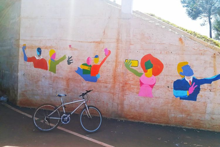 Southern bypass art Bicycle Multi Colored Street Art Architecture Outdoors City
