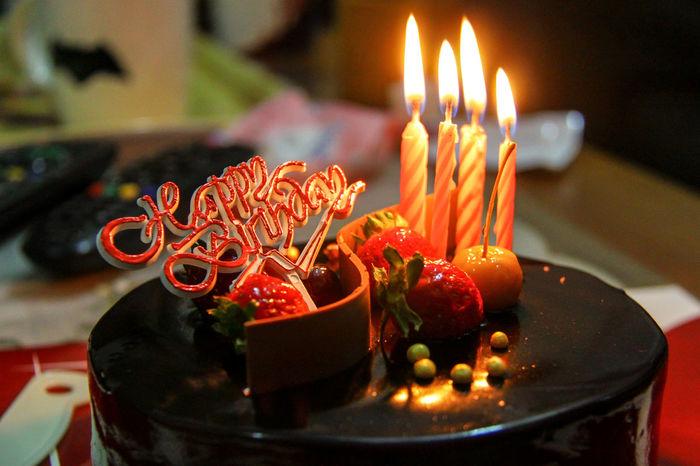 Birthday Cake Celebration Anniversary Baked Candles Burning Candle Close Up Dessert
