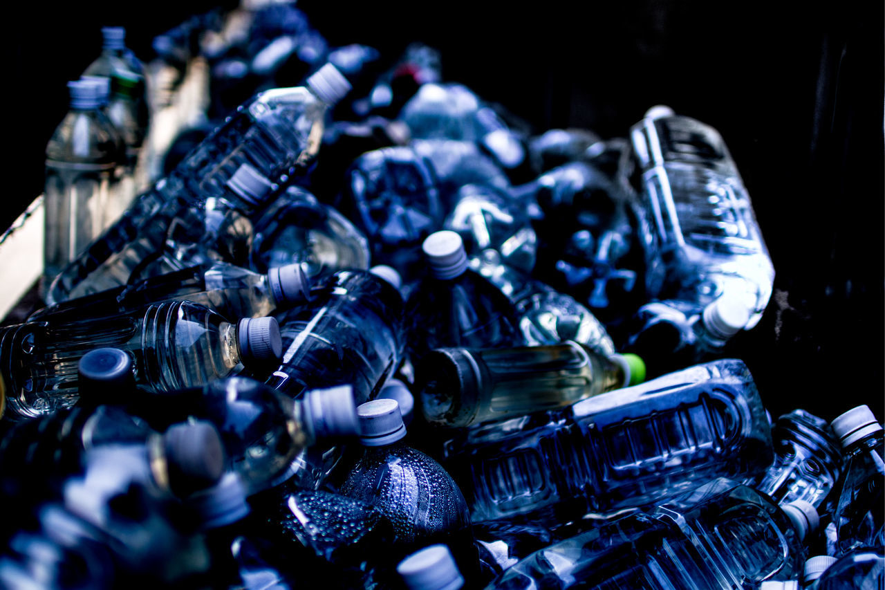 Close-up recycling water bottles