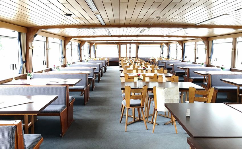 Ship Restaurant Rhine Rhine River Ship Ship Inside Seat Table Chair Indoors  Architecture Restaurant No People In A Row
