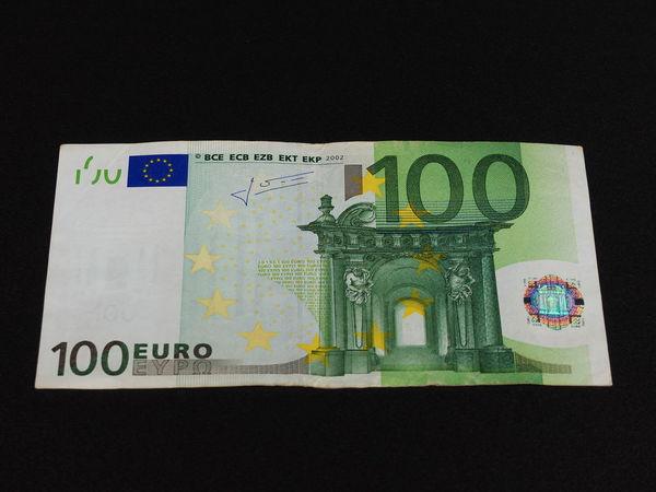 100 euro bill on black background Banknotes Black Background Close-up Currency Euros Finance Geldscheine Indoors  No People Paper Currency Studio Shot Wealth