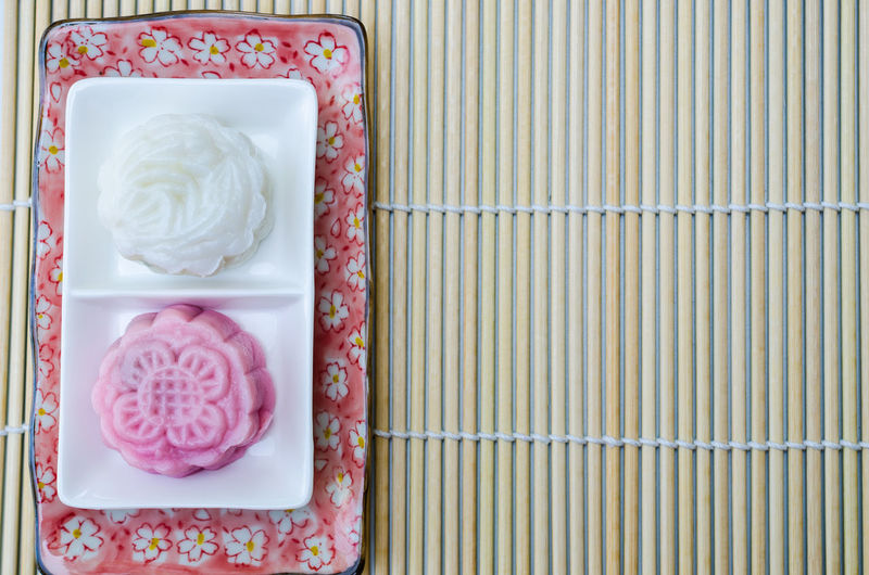 Close-up Daifuku Dango Food Freshness High Angle View Indoors  Japanese Desserts Japanese Food Millennial Pink Mochi No People Pattern Pink Color Snack Sweets