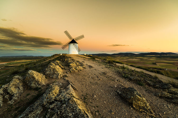 Quixote Toledo Spain Windmill Alternative Energy Architecture Beauty In Nature Environment Environmental Conservation Fuel And Power Generation Landscape Nature No People Non-urban Scene Outdoors Renewable Energy Rock - Object Scenics - Nature Sky Sunset Traditional Windmill Tranquil Scene Tranquility Turbine Wind Power Wind Turbine