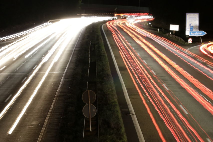 Autobahn City Illuminated Road Motion Speed Long Exposure Light Trail City Life Red City Street Vehicle Light Multiple Lane Highway Highway Dividing Line Two Lane Highway