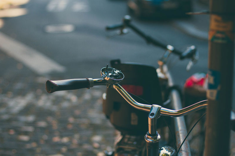 Bicycle City Close-up Day Focus On Foreground Handlebar Land Vehicle Mode Of Transport No People Outdoors Road Stationary Street Transportation EyeEmNewHere