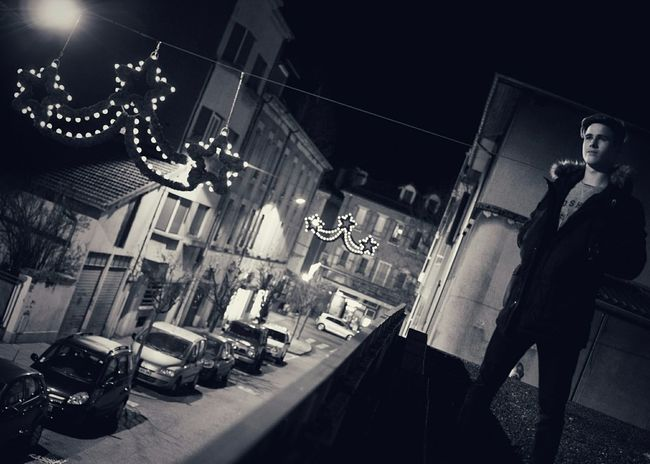Low Angle View Nightlife Men People Old-fashioned One Person Blackandwhite Black And White Light And Shadow Black & White From My Point Of View Nightphotography Portrait On The Roof Hello World