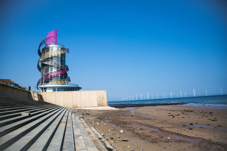 Redcar Beacon Architecture Beach Blue Building Exterior Built Structure City Clear Sky Day Land Nature No People Outdoors Pier Redcar Beacon Sea Sky Tower Transportation Travel Water