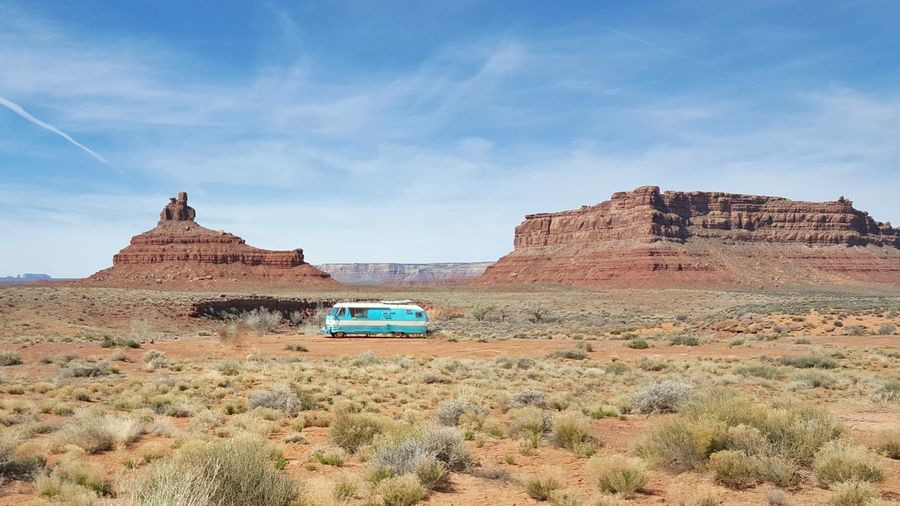 Travel Trailer On Landscape Against Sky