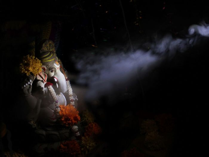 Ganesha Idol In Darkroom