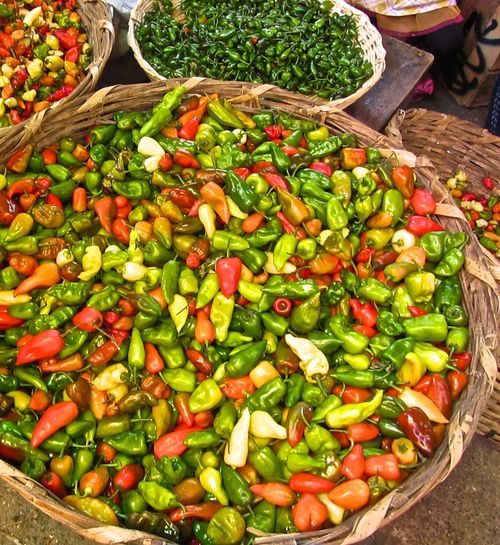 Open market in Coban, GUATEMALA IPhone 6+ Iphonephotography Memories. Nature's Best chilies