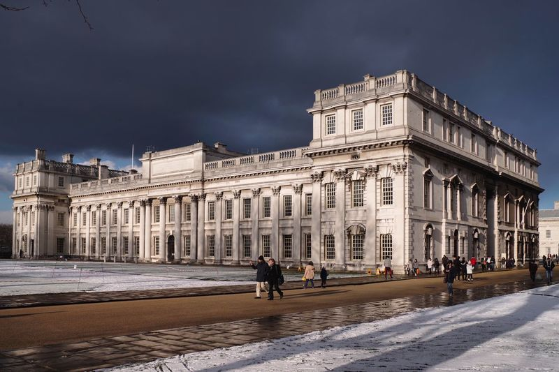 Melt with you... Views London Greenwich Oldroyalnavalcollege TrinityLaban 2018 Snow NicholasHawksmoor ChristopherWren Architecture Sky Travel Destinations Nature City