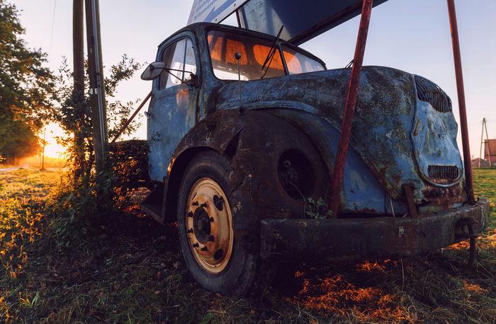Magirus Deutz Abandoned Car Close-up Damaged Day Land Vehicle Mode Of Transport Nature No People Oldtimer Outdoors Rusty Sky Stationary Transportation Tree EyeEmNewHere