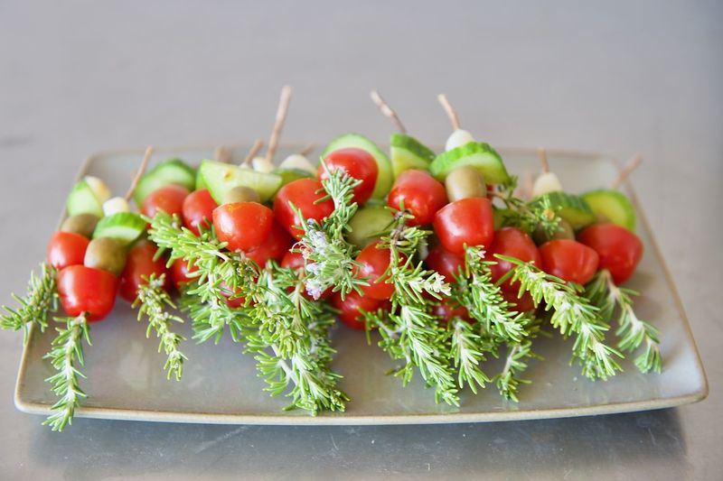 Rosemary Skewers for Bloody Mary's. Bloody Mary Garni Close-up Day Focus On Foreground Food Food And Drink Freshness Green Color Healthy Eating Indoors  Nature No People Ready-to-eat Red Rosemary Skewers Tomato Vegetable