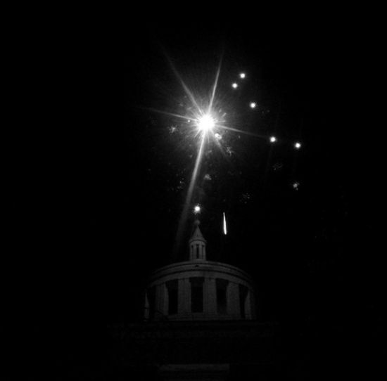 Italy Night Church Patronal Feast Fireworks Light Sky Black And White