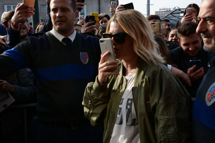 "Naples, Italy. 27th Jan, 2018. Emma Marrone italian pop singer meets her fans and signs the copies of her latest album ""Essere qui"" at Feltrinelli Library. Emma Emma Marrone Naples Napoli New York Sing Singer  Album Campania Essere Qui Italian Singer Italy New Album Singstar Song"