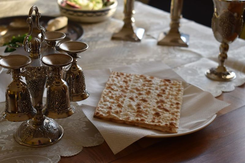 Matzah Passover Jewish Pesach Passover Passah Blessed  Matzah Table Still Life No People High Angle View Indoors  Food And Drink Focus On Foreground Close-up Ready-to-eat