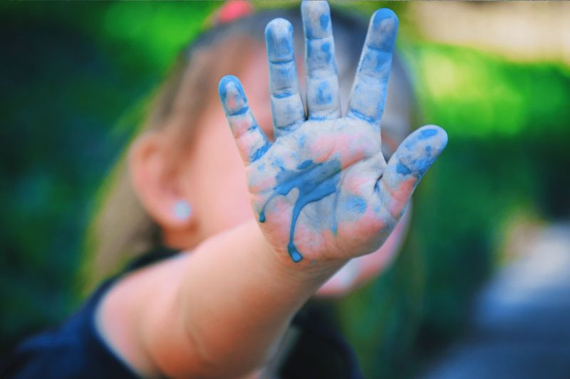 Showing Imperfection Childhood Paint Hand Child Kids Kid Kids Being Kids Children Mess Painting