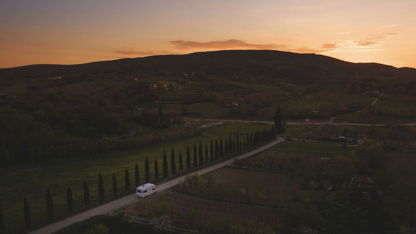 Driving Holiday Road Cloud - Sky Idyllic Landscape Motorhome Nature Outdoors Real People Rural Scene Rv Scenics - Nature Sky Sunset Tranquil Scene Vacation Vanlife