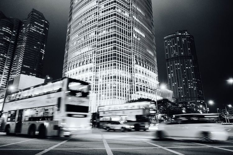 Hong Kong Central IFC International Financial Centre Tower Monochrome Architecture City Building Exterior Cityscape Architecture City Night Bus Travel Travel Photography Urban Exploration 香港 中環 Downtown District