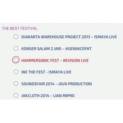 Vote terakhir dinominasi The Best Festival kepada acara Metal terbesar se-asia tenggara yang slalu diadakan di kota Djakarta HAMMERSONIC FEST (@hammersonicfest) - REVISION LIFE Vote PollingMusikHai