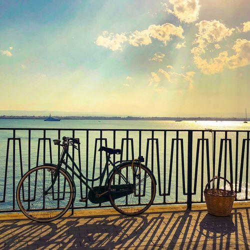 My bike Water Sky Bicycle Sea Transportation Cloud - Sky Beauty In Nature Tranquility Tranquil Scene Land Vehicle Sunlight Idyllic Outdoors