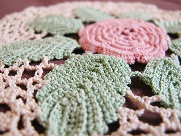 Close-Up Of Crochet Of Tablecloth