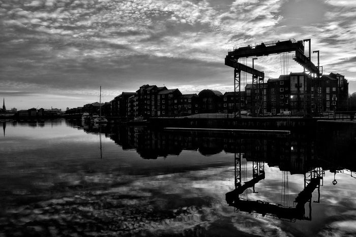 Preston Docks Taking Photos Reflection Photo Editing Malephotographerofthemonth Tranquility Photography Is My Escape From Reality! Clouds And Sky Tranquil Scene Preston Docks Blackandwhite