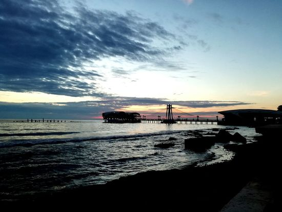 Sea Beach Sunset Dramatic Sky Sky Business Finance And Industry Cloud - Sky Outdoors Beauty In Nature No People Nature Water Day Durres Albania