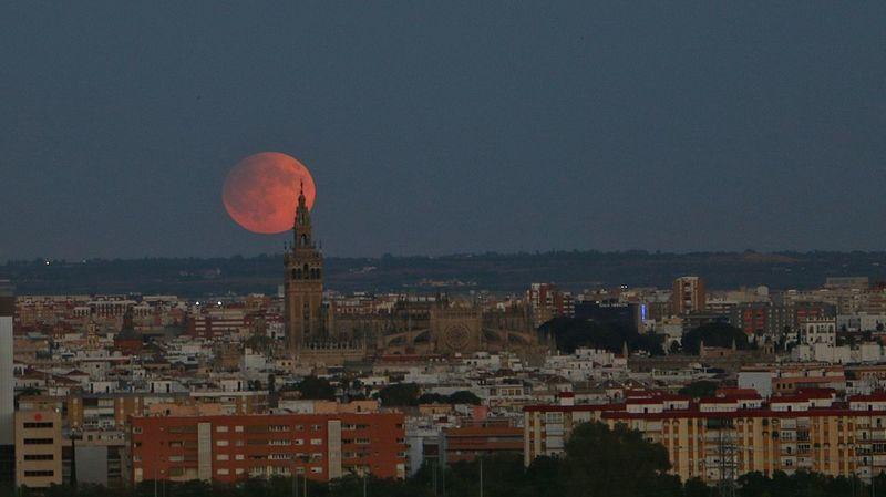 Sevilla Luna Luna Llena Giralda SPAIN Andalucía Cityscape City Moon Tower Carambolo Moon Rising Noche Moonrise Canon 70d