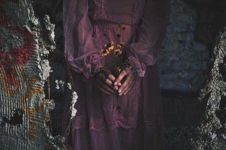 Dress Midsection Real People Flower Lifestyles Religion Standing Spirituality Traditional Clothing Women One Person Exploring Adventure Abandoned Indoors  One Young Woman Only Abandoned Places Decay Day Close-up Sari Human Hand Lieblingsteil The Secret Spaces