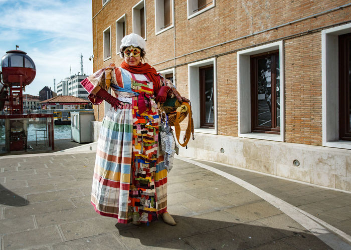 Carnival Carnival In Venice Adult Adults Only Architecture Building Exterior Built Structure Celebration Costume Cultures Day Full Length Looking At Camera One Man Only One Person Outdoors People Portrait Real People Sky Stage Costume Standing Traditional Clothing