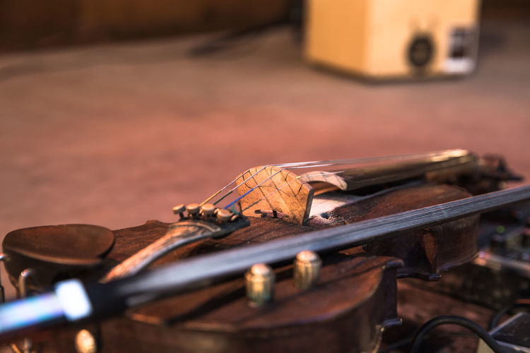 Close-Up Of Violin On Stage