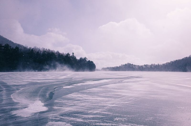 Winter Frozen Lake View Sky Beauty In Nature Scenics - Nature Cloud - Sky Tree Cold Temperature Tranquil Scene Nature Tranquility Water Non-urban Scene Snow No People Plant Day Lake Landscape Environment