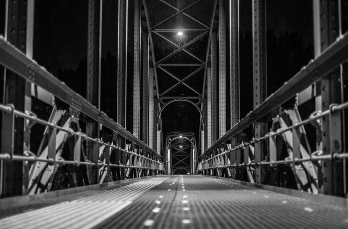 A bridge made of steel and darkness. Entenwerder1, Hamburg, Germany. Bridges Dark Hamburg Night Photography Travel Travel Photography Architecture Architecture Photography Black Black And White Bridge - Man Made Structure Built Structure Connection Evening Fujifilm Germany Midnight Monochrome Monochrome Photography Night No People Outdoors Outside The Way Forward Walking