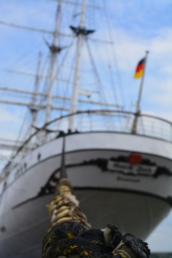 Flag Germany Gorch Fock Mast Nautical Vessel No People Rope Sailing Stralsund  Tall Ship Travel