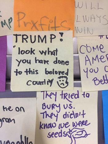 Protest wall. Subway notes. Writing Trump. Activism No Trump Handwriting  Communication Indoors  Education Choice Indoor Photography Subways New York Activists