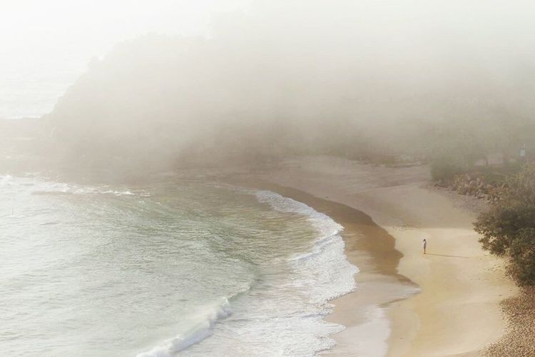 Lone human on a beach. Northern NSW Fog Foggy Water Weather Scenics Tranquility Beauty In Nature Sea Beach Nature Mist Idyllic Dawn Calm Non-urban Scene Sky Remote Coastline Day First Eyeem Photo Finding New Frontiers