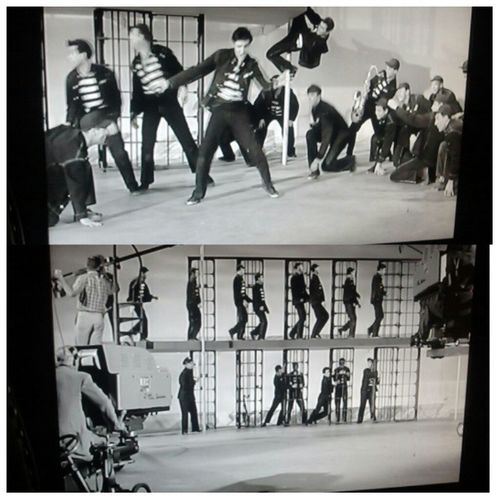 """""""Everybody in the whole cell block let's dance to the jailhouse rock"""" Elvis was a smooth dude. RIP. 50s Blackandwhitemovie"""