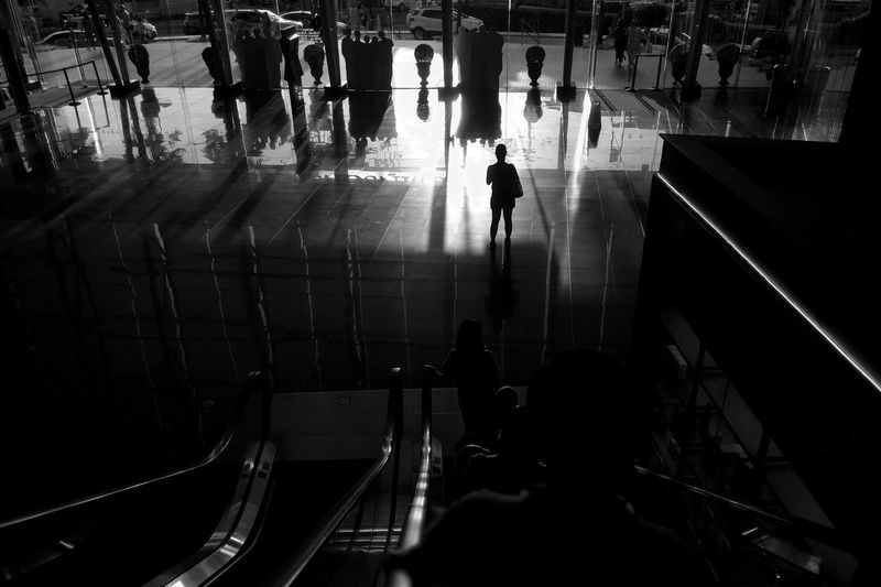 Magnolia Solidarity Lady Silouette Shadow Black And White Street Mall Shopping Mall Urban Lines Shopping Mall City Men Steps And Staircases Women Stairs Steps