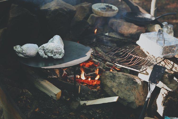 Close-up of bonfire outdoors