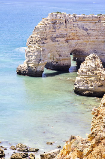 High Angle View Of Rock Formation At Praia Da Marinha
