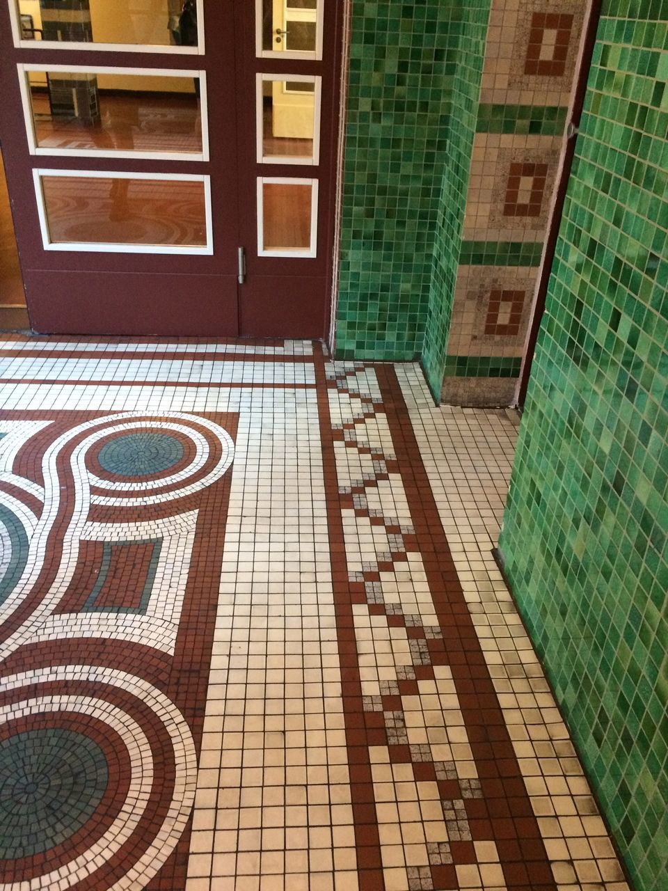 tiled floor, tile, window, architecture, mosaic, pattern, day, indoors, no people, built structure, multi colored, building exterior, modern