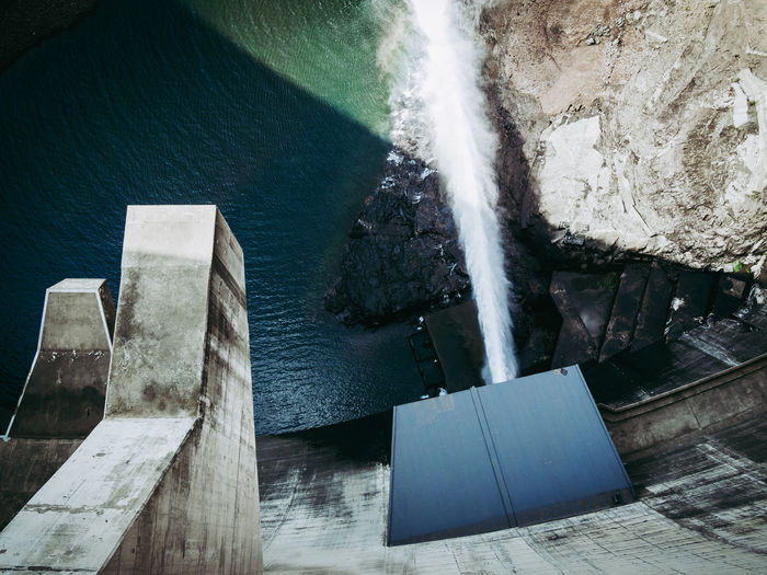 High angle view of katse dam hydroelectric power
